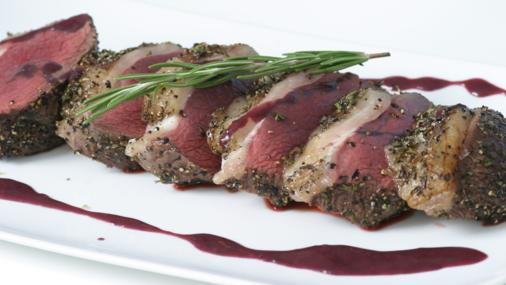 Venison with raspberry and bitter chocolate sauce